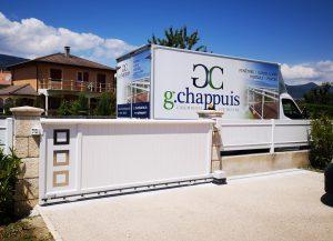 Portail-coulissant-clôture-Aluminium-blanc-Thyez