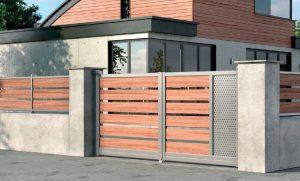 Portail-Battant-clôture-Aluminium-ton-bois-Vetraz-Monthoux