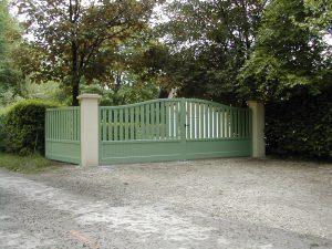 Portail-Battant-clôture-Aluminium-vert-Meyrin
