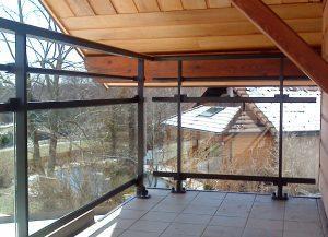Balustrade-pour-balcon-Aluminium-une-lisse-verre-clair-Magland