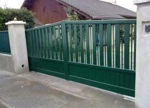 Portail-Battant-Aluminium-vert-Annemasse